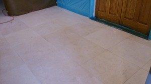 Limestone Floor Before Final Polishing