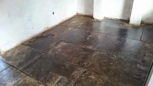 Flagstone Floor After Cleaning And Sealing