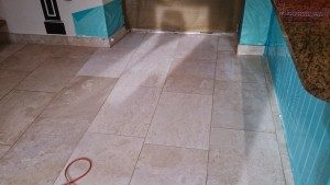 Travertine floor cleaned & ready to polish