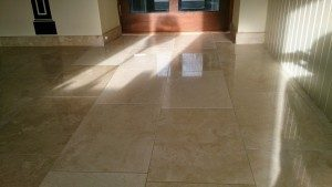 Travertine floor after final polishing