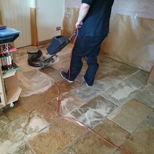 Slate Floor Being Cleaned