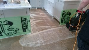 Limestone Floor Cleaning, Scrubbing the loosened soil