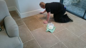 Limestone Floor Cleaning, applying the Impregnator
