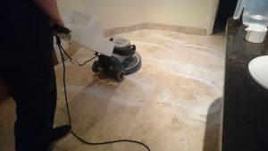 marble floor undergoing clean