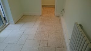 Limestone Floor in Bristol Partially Cleaned