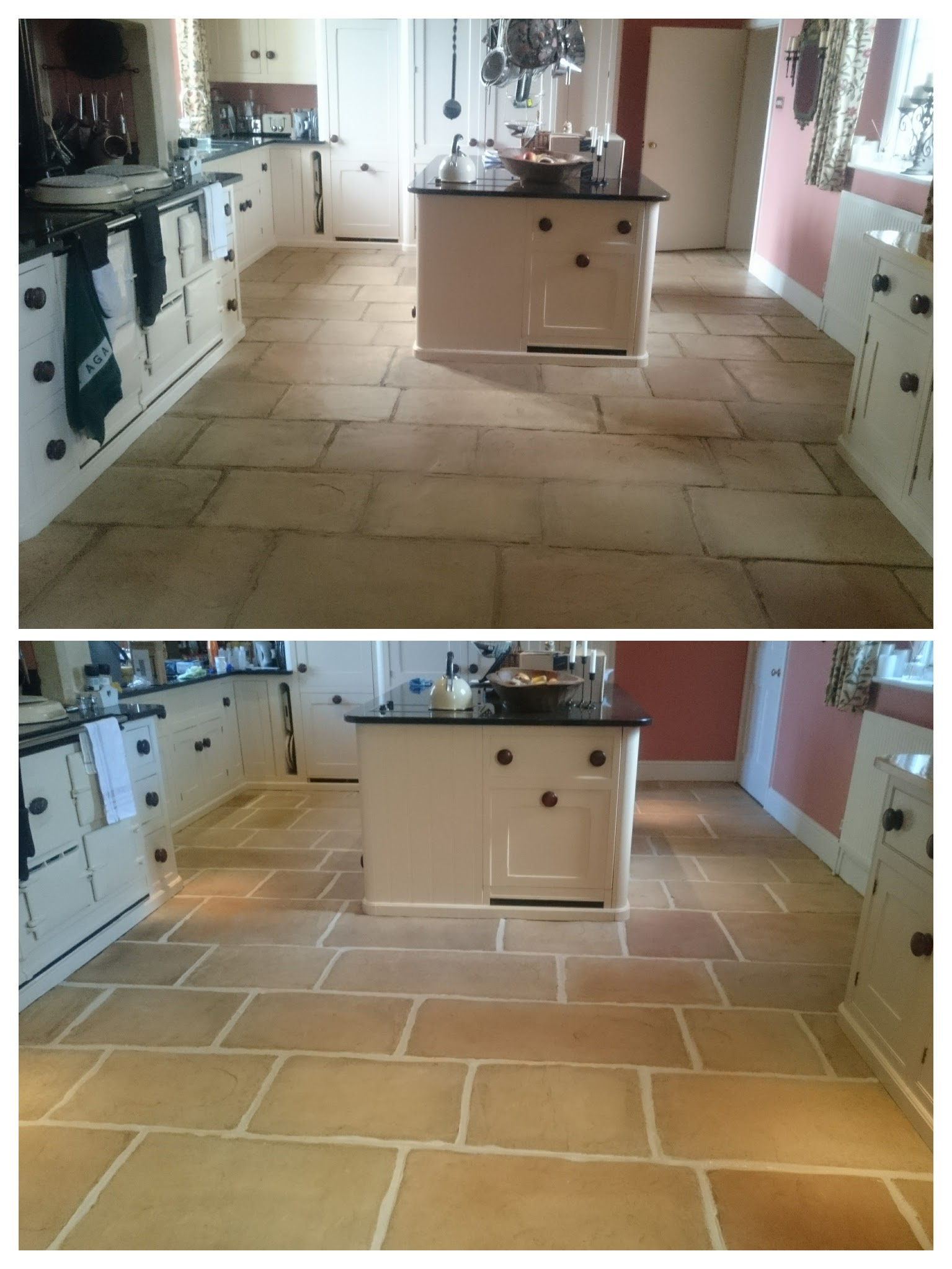 Cleaning a stone floor before and after