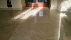 Travertine floor after polishing