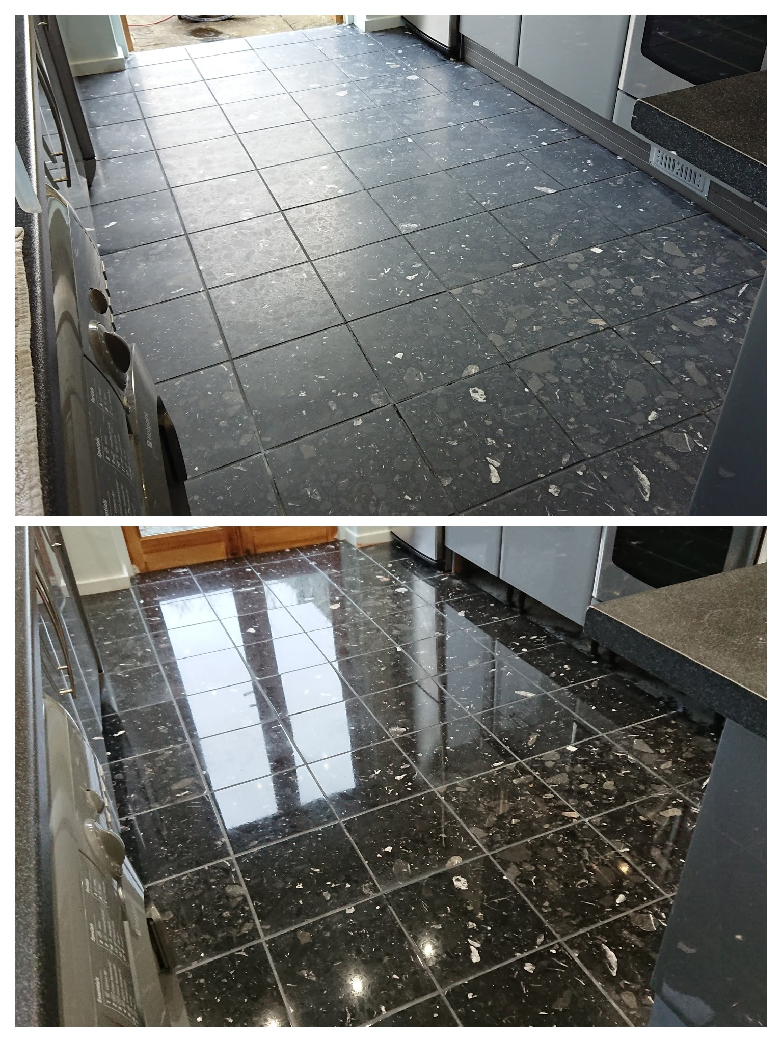 Polishing a stone floor before and after