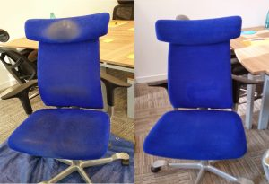 Office chair before and after cleaning