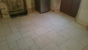 Limestone Floor after cleaning in the Kitchen area