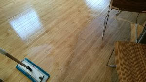 Karndean Floor partially cleaned