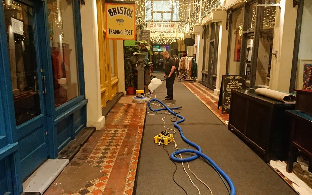 Victorian tile Cleaning & Restoration for a Shopping Arcade in Bristol